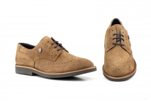 Zapatos Hombre Derby Serraje Taupe   -  Ref. IBERICO-02 Taupe